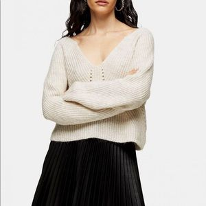 Topshop Cropped Over The Shoulder Sweater